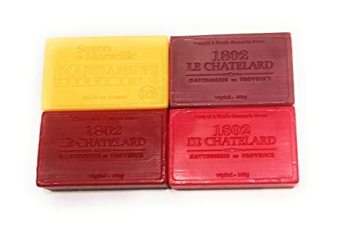 1802 Le Chatelard - Lot de 4 savons enrichis à l'huile d'amande douce. 4x100gr. Fruits rouges, Mandarine citron vert, Figue et Cerise griotte.