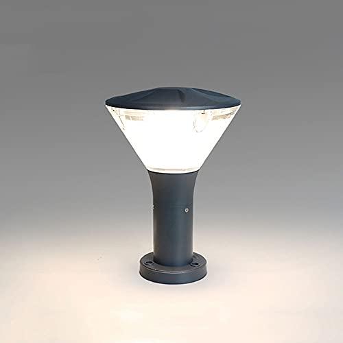 Lámpara de pilar impermeable gris industrial Cubierta de acrílico de metal Luz de poste exterior LED a prueba de lluvia Base de montaje en muelle Columna Luminaria de piso externo Linterna de porche I
