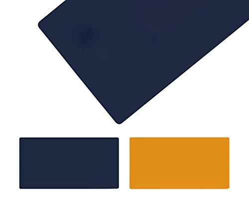 seveni Alfombrilla de Escritorio Grande, de Doble Cara, de Piel sintética Impermeable para Ordenador portátil o Teclado, ratón, Alfombrilla, Azul Oscuro + Amarillo(30x120cm/11.81x47.24in)