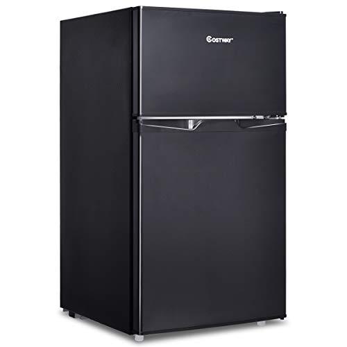 COSTWAY Kühlschrank mit Gefrierfach Standkühlschrank Gefrierschrank Kühl-Gefrier-Kombination / 85L / Schwarz