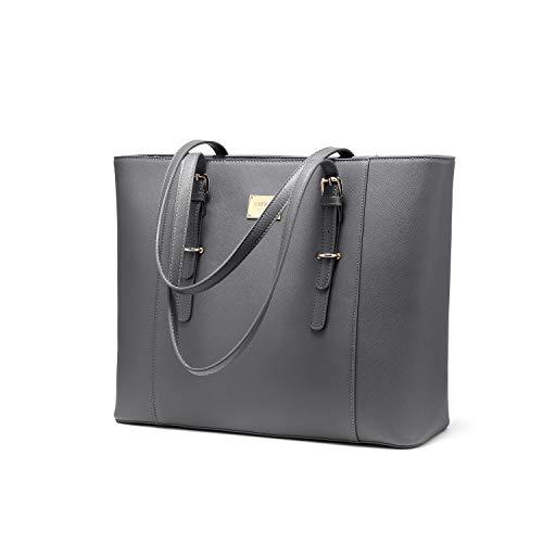 LOVEVOOK Laptop Handtasche Shopper Damen, 14 Zoll Laptoptasche Arbeitstasche Wasserdicht, PU Leder Schultertasche Aktentasche für Business Uni Grau