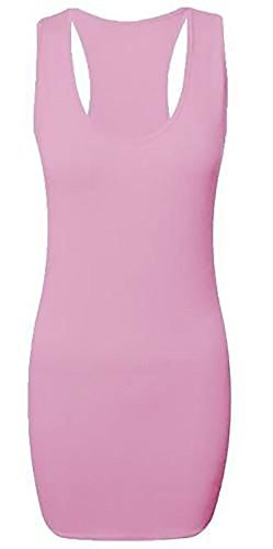 Islander Fashions Damen Long Racer Zur�ck Bodycon Damen Phantasie Sleeveless Gym Wear Muskel Weste Top Baby Rosa Klein/Mittel