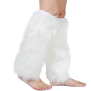 Barelove Womens Costume Sexy Faux Fur Warm Fuzzy Leg Warmers/Boot Sleeves/Boot Covers  White