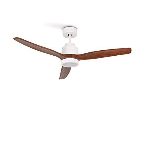 IKOHS WINDLIGHT White - Ventilador de Techo con Luz, 3 Aspas, Mando a Distancia, 132 cm de Diámetro, 6 Velocidades, Silencioso, Temporizador, Aspas de Madera, 3 Tipos de Luz, 40W (Madera Oscura)