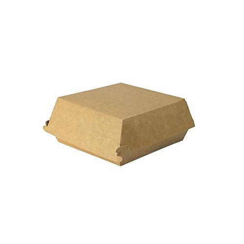 BIOZOYG Take Away Burger Box 100 Stück I Burgerboxen mit Klappdeckel I Hamburger Box aus Frischfaster-karton I to Go Burger Verpackung fettbeständig braun-weiß 14,5 x 14,5 x 8 cm I recycelbar