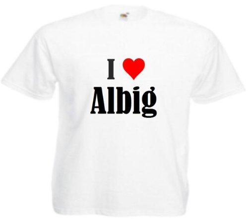 T-Shirt I Love Albig Größe 4XL Farbe Weiss Druck Schwarz