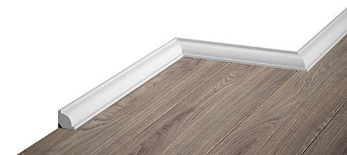 Sockelleiste Mardom Decor MD001 Viertelstab Abschlussleiste Fußleiste weiß 2m Höhe 2.1cm