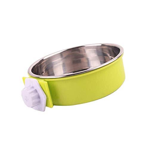kyman Hundekiste Käfigschale Edelstahlabnehmbare hängende Lebensmittelwasser mit Bolzengrün