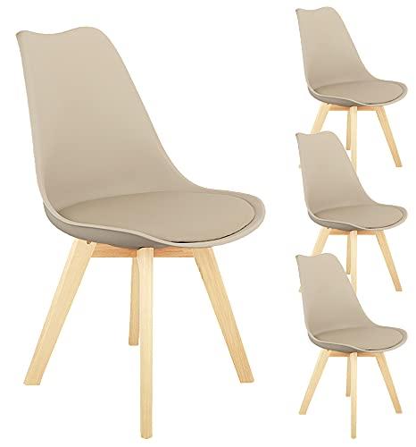N A - Set di 4 sedie moderne per sala da pranzo, assemblate, in plastica, con gambe di legno e schienale e seduta morbidi, per sala da pranzo, camera da letto, soggiorno
