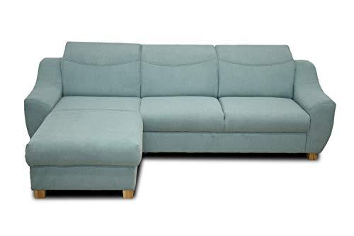 DOMO. collection Fiona Ecksofa | Sofa mit Rücken- und Schlaffunktion in L-Form, Eckgarnitur mit Bettkasten, grün, 276x184x81 cm