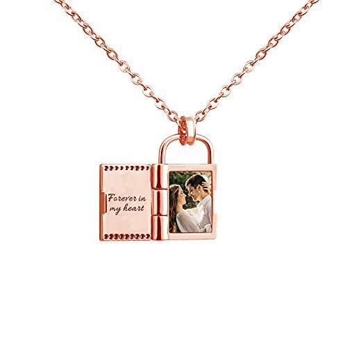 Collar de acero inoxidable para mujer con colgante de candado con nombre y foto personalizados, collar de medallones personalizados para parejas, regalo para mamá, novia, esposa