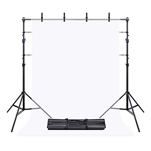 UTEBIT Hintergrundsystem für Fotostudios 1.5x2m Fette Querstange Hintergrund Ständer fur Fotohintergrund mit 4Stück Klammern Groß und 4Stück Hintergrund Klammern für Porträt und Videoaufnahmen