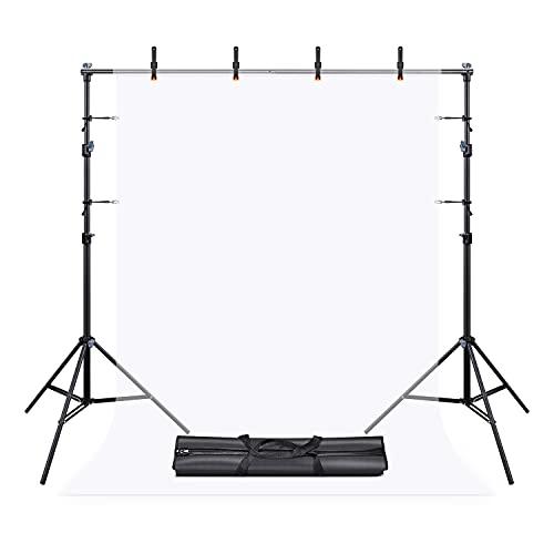UTEBIT Hintergrundsystem für Fotostudios 1.5x2m Fette Querstange Hintergrund Ständer fur Fotohintergrund mit 4Stück Klammern Groß und 4Stück...