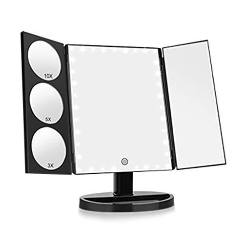 JINBAO Espejo de Maquillaje LED Espejo de Aumento de Escritorio Inteligente con Lámpara, un Espejo Y Tres Aberturas, se Puede Enchufar, se Puede Usar con 4 Pilas AA, Negro