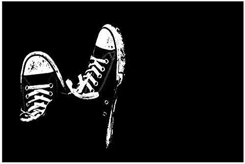 NC87 Decoración del hogar, Zapatillas sucias en Blanco y Negro, póster, imágenes artísticas de Pared, Lienzo, impresión artística en Lienzo, 20X30 Pulgadas, sin Marco