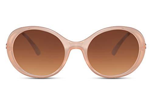Cheapass Gafas de Sol Vintage Beige Marco Gradual Lentes Marrones Kurt Cobain Gafas de sol con Patillas Metálicas Protección UV400 Hombres Mujeres