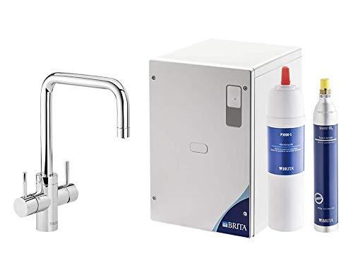 BRITA Wassersprudler yource pro Select Elektronisch mit CO2 Zylinder - Mit Filter und Kühlung für Lieblingswasser direkt aus der Leitung (Eckig, Chrom glänzend)