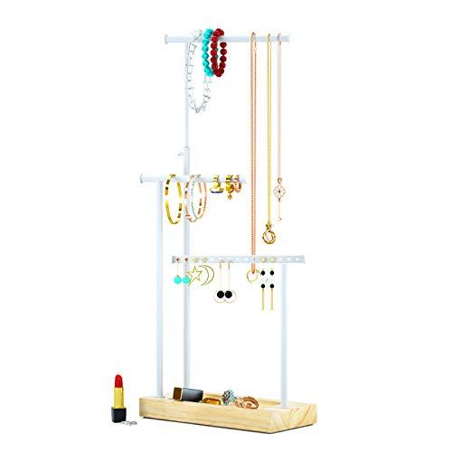 Schmuckständer Schmuckhalter Kettenhalter - 3 Stäbe drehbar (51cm), Holz Schmuckbaum Kettenständer Uhrenständer Schmuckaufbewahrung für Ketten, Ohrringen, Ringen, Uhren und Armbändern (Weiß)