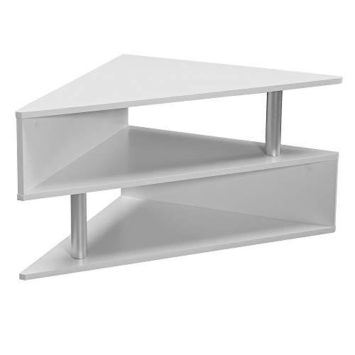 WOHNLING Design Couchtisch 60x60 cm in Weiß | Wohnzimmertisch mit 3 Etagen | Dreieckiger Tisch | Ecktisch mit 2 Fächern | Beistelltisch