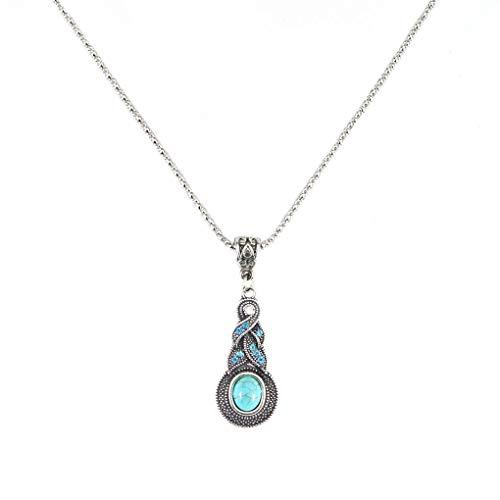 Bobury Womens Retro Blue Crystal Pendant Necklace Women Turquoise Jewelry