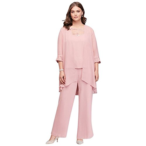 Lace-Detailed Georgette Plus Size Pantsuit Style 27335, Dusty Rose, 24W