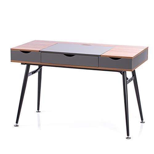 Homede Schreibtisch mit Schublade und Stauraum 120 x 60 x 76 cm Bürotisch Computertisch Faryn Walnut Walnuss grau braun