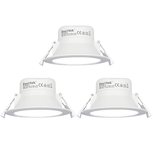 Luces Focos LED Empotrables Lamparas de Techo Downlights LED 10W Blanco Frío 5000K Ø90-105mm Agujero del Techo IP44 AC100~240V Pack de 3 de Enuotek