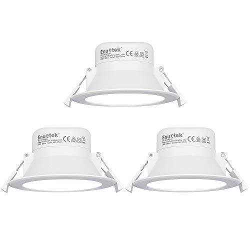 Deckenleuchten LED-Scheinwerfer Einbautreppe Deckenleuchte 10W Extra Flat 220V Lochdurchmesser 90-105MM Kaltweiß 5000K Bad- und Terrassen-Downlight 3er-Set von Enuotek
