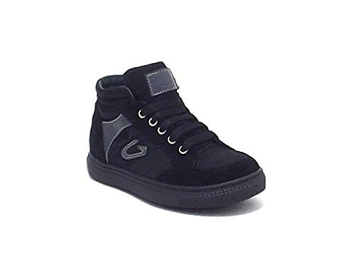 Alberto Guardiani Kids Scarpa Bambino, Articolo 20800, Sneakers Guardiani in camoscio e Nylon, Colore Nero Grigio