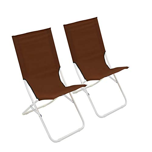 Pissente Portable Folding Beach Deck Chair Brown, Durable Beach Chairs Set of 2Pcs Steel and Oxford Fabric Sun Lounger Garden Chair Camping Chair 69 x 47 x 63 cm (W x D x H)