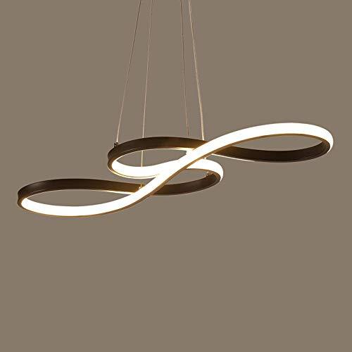Moderne LED hanglamp dimbaar met afstandsbediening eettafel 58 W hanglamp acryl wit aluminium zwart voor kantoor eetkamer Curva Simb