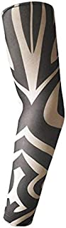 nuevo Anti-sol moda hombres y mujeres tatuaje brazo pierna mangas alto elástico Nylon Halloween fiesta de baile la Manga del tatuaje Azul cielo