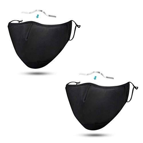 Mascherina antiappannamento - set di 2 mascherine nere | Maschere viso in tessuto con clip per occhiali | Mascherina lavabile con filtro tasca | Maschera per adulti regolabile | Taglia L, Nero