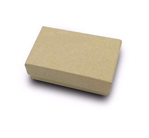 100 Kraft Brown Cotton Filled Boxes 3.25 x 2.25 x 1 for Jewelry and Gifts