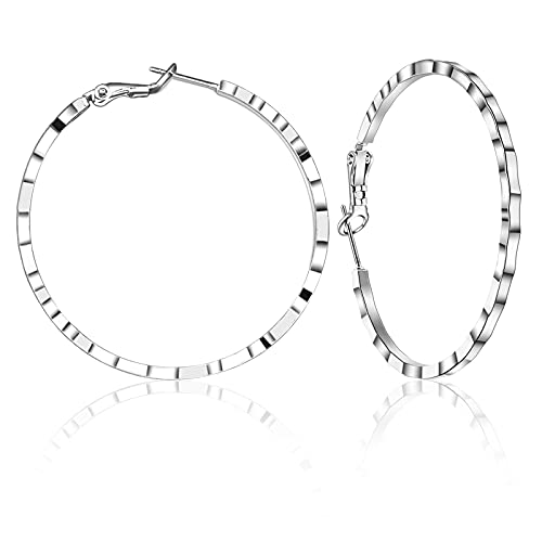 Emibele Creolen Ohrringe, Edelstahl Große Creolen Damen Ohrschmuck (Durchmesser 45 mm), Ohrringe Geschenk Schmuck für Frauen Freundin Mädchen Mode Schmuck Accessoires - Silber