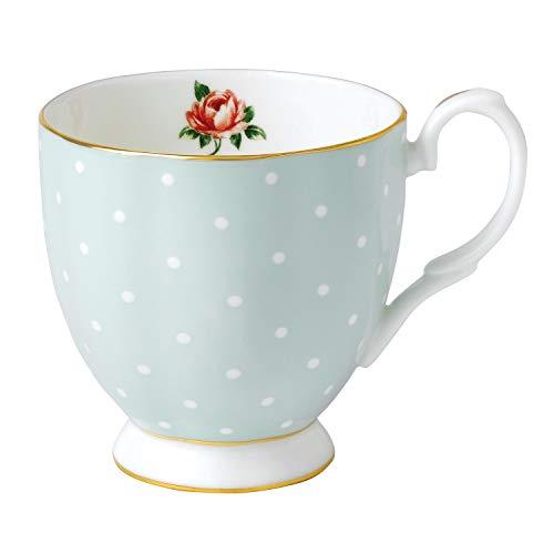 Royal Albert 0,3 litro de Porcelana Fina Tea Party Polka Rose Vintage Taza con Base, Blanco