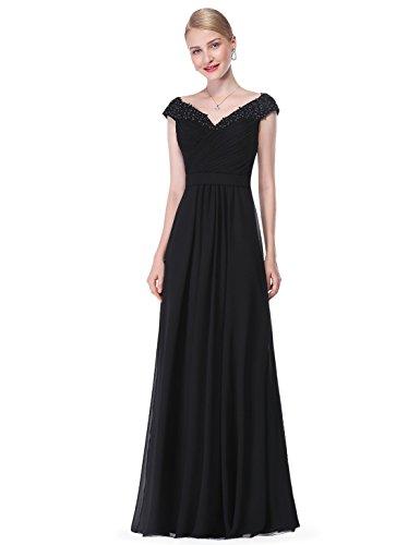 Ever-Pretty Vestito da Sera da Sera Elegante da Donna con Scollo a V Elegante Nero 40EU