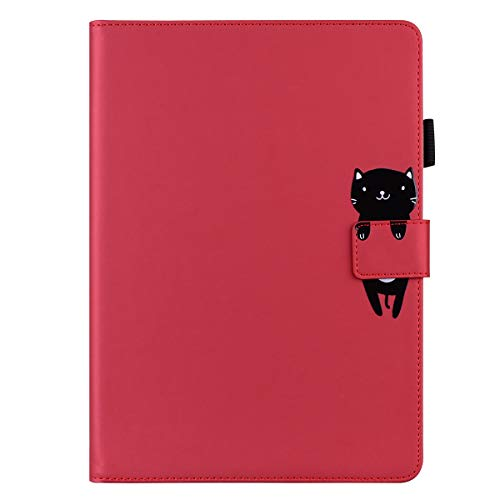 Unichthy Case For Huawei MatePad 10.4 Tablet 2020 Cute Animal Patterned Shockproof Case with Anti-slip Stand 2 Card Slots Cover for Huawei MatePad 10.4 inch BAH3-AL00/ BAH3-W09 Cat/Red