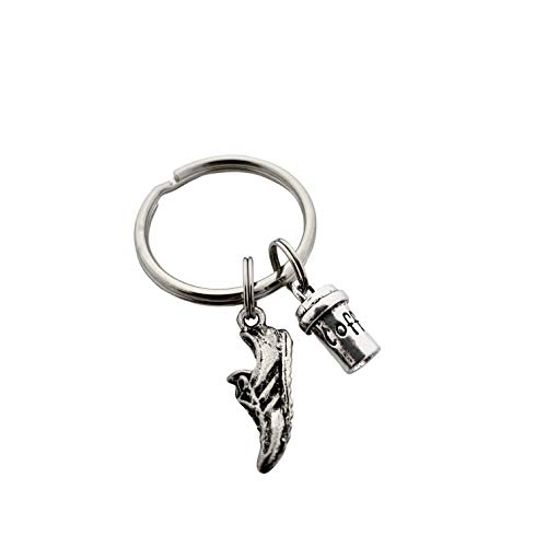 My RUN is Fueled By Coffee Key Chain - Running Shoe Charm, 3D Coffee Cup Charm on Stainless Steel Round Key Ring