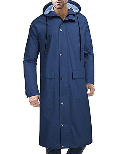 COOFANDY Chubasquero con capucha para hombre, impermeable, ligero, activo, largo, azul, XXL