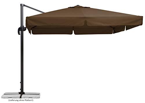 Schneider Sonnenschirm Rhodos, mocca, 300x300 cm quadratisch, Gestell Aluminium/Stahl, Bespannung Polyester, 23.3 kg