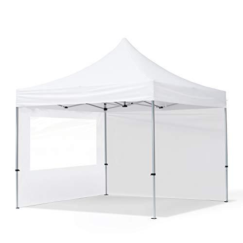 TOOLPORT Faltpavillon Faltzelt 3x3m - 2 Seitenteile 32mm ALU Pavillon Partyzelt PES300 100% WASSERDICHT weiß
