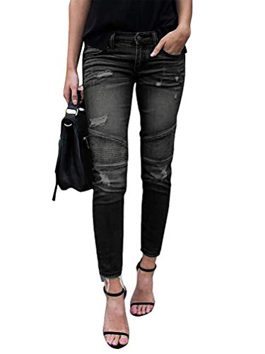 Onsoyours Jeans Damen Jeanshosen Skinny Jeans Denim High Waist Slim Leggings Röhrenjeans Bleistifthosen Bleistift Hosen mit Löchern B Schwarz Medium