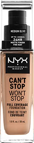 NYX Professional Makeup Can't Stop Won't Stop - Base de maquillaje con Acabado mate, 30 ml, Medium Olive