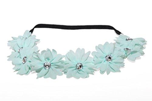 Lux Accessories Lux Fabric Flower Rhinestone Stretch Headband Chiffon Floral Head Band