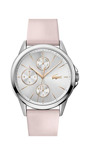 Lacoste Relógio feminino Florence de aço inoxidável de quartzo com pulseira de couro de bezerro, rosa, 20 (modelo: 2001108)