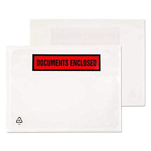 Purely Packaging - Sobre portadocumentos adhesivo (500 unidades, plástico, A4, 168 x 126 mm), diseño con texto en inglés Documents enclosed