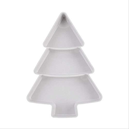 GJJDF Creativo Forma de árbol de Navidad Semillas Nuez y Frutos Secos Plato Plato Plato Vajilla Bandeja de Desayuno Suministros de Cocina Blanco