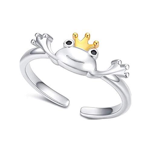 Ammily Frosch-Ring, Retro, Persönlichkeit, Tier, Unisex, roter Granat, Frosch, offen, verstellbar, feiner Schmuck