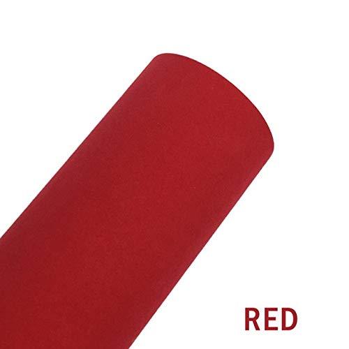 HHF Aufkleber 3colors Autozubehör Velvet Fabric Suede Car Wrapping-Vinylfilm Adhesive DIY mit Luft-Blase frei for Auto-Motorrad-Abziehbilder (Color Name : Red, Größe : 50cmx150cm)